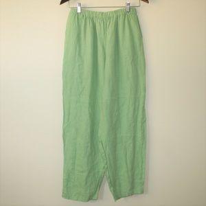 Flax Green Linen Slouchy Baggy Boho Pants Medium